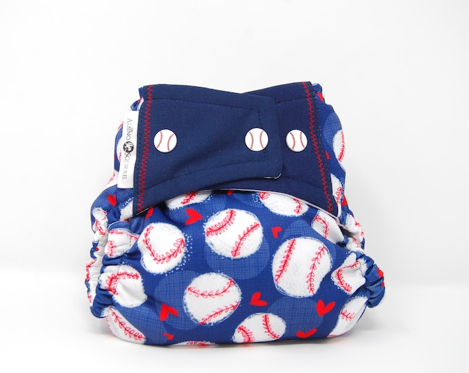 Baseball Cloth Diaper Cover or Pocket Diaper (One Size)