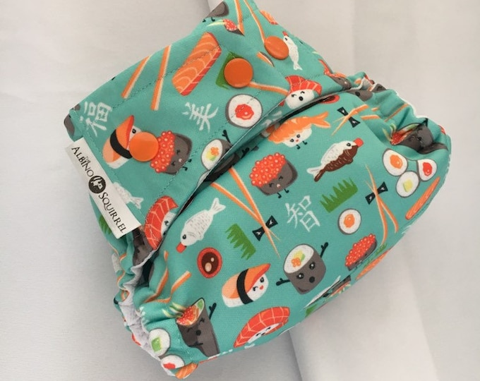 Cloth Diaper : SUSHI Print Cover or Pocket Diaper (One Size) Baby Shower Gift, Baby Nursery