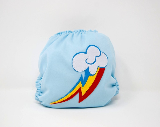 Rainbow Dash / Pony / Baby Cloth Diaper Cover or Pocket Diaper (One Size)