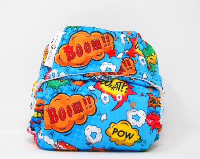 Superhero Words Cloth Diaper Cover or Pocket Diaper (One Size)