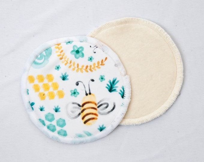 Honey Bees - Reusable Bamboo Velour Nursing Pads