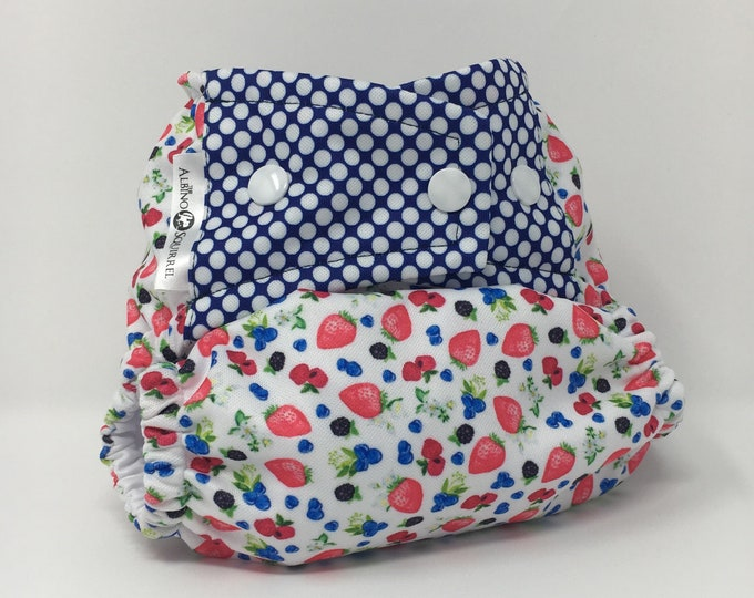 Cloth Diaper : Strawberries Blueberries Print Cover or Pocket Diaper (One Size) Baby Shower Gift, Baby Nursery