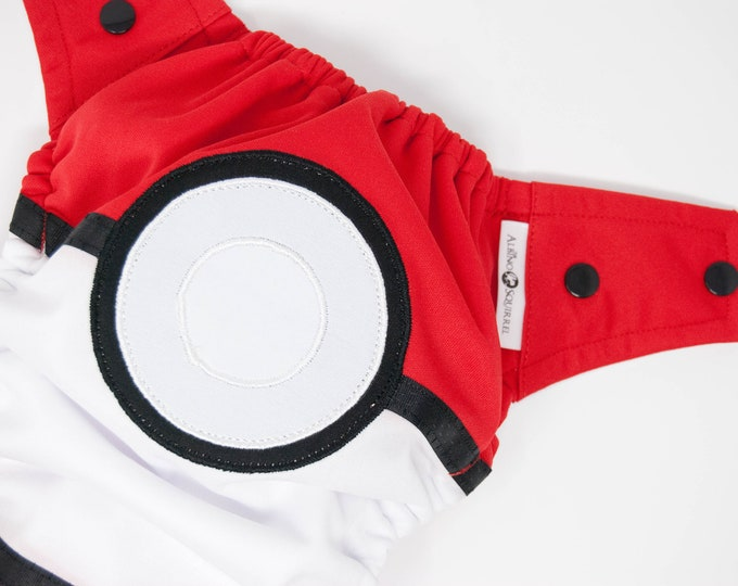 Pokemon Pokeball Baby Cloth Diaper Cover or Pocket Diaper (One Size)