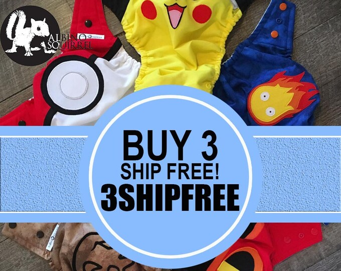 COUPON CODE: FREE Shipping when ordering Three or More Diapers / pocket diaper / diaper cover / superhero baby / custom