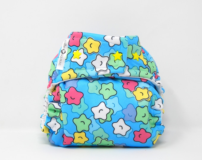 Candy Sprinkle Stars Cloth Diaper Cover or Pocket Diaper (One Size)