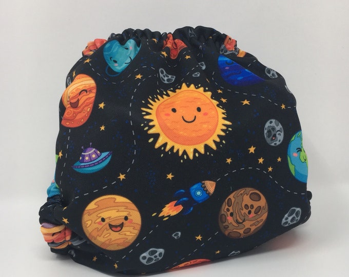 Space, Planets Cloth Diaper Cover or Pocket Diaper (One Size)