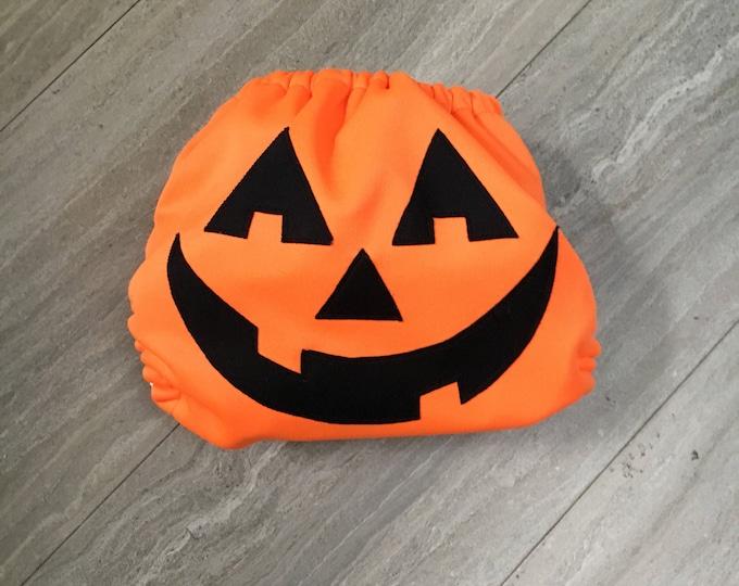 Halloween Pumpkin Jack-o-lantern Cloth Diaper Cover or Pocket Diaper (One Size)