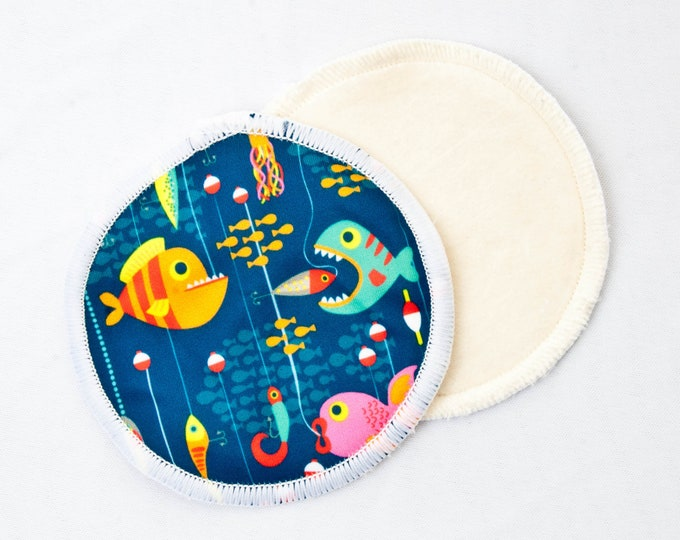Reusable Bamboo Velour Nursing Pads - Go Fish