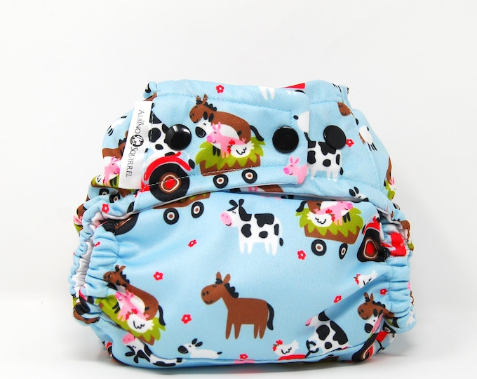 Farm Animals Diaper Cover or Pocket Diaper (One Size)