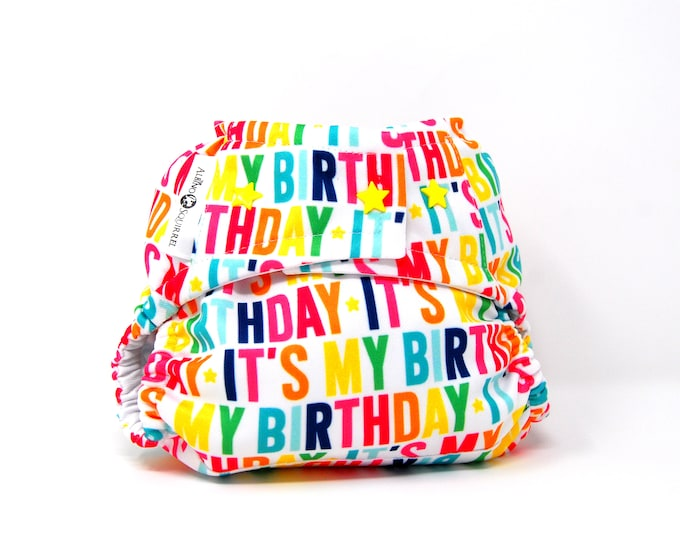 It's My Birthday Cloth Diaper Cover  (One Size) Ready to Ship