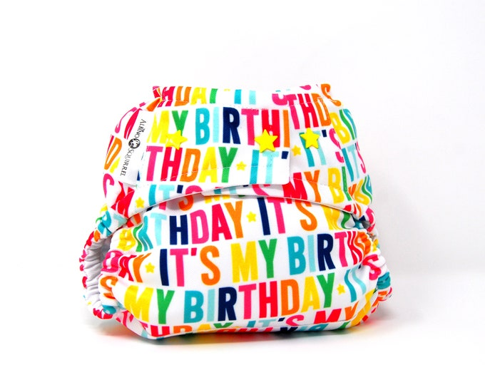 It's My Birthday Cloth Diaper Cover or Pocket Diaper (One Size)