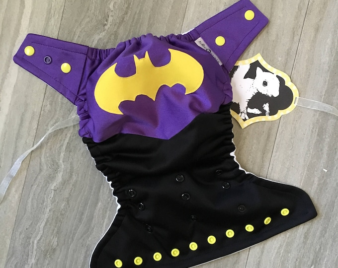 Superhero Batgirl Cloth Diaper Cover or Pocket Diaper (One Size)