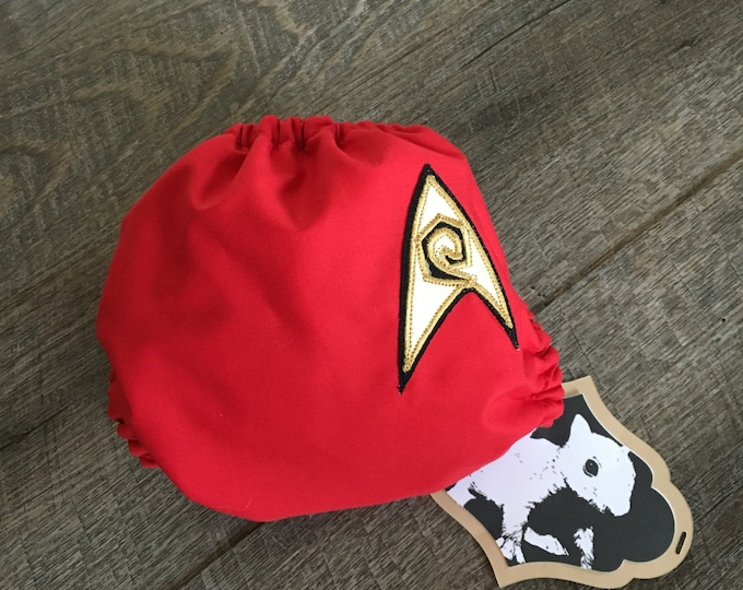Cloth Diaper / Star Trek Operations, Security Red / Diaper Cover or Pocket Diaper (One Size)