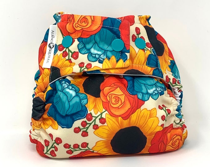 Bright Florals Diaper Cover or Pocket Diaper (One Size) Baby Shower Gift