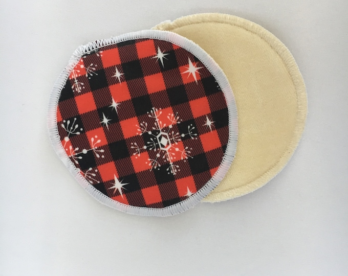 Reusable Bamboo Velour Nursing Pads - Snowflakes