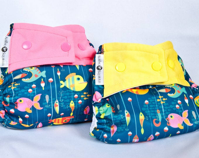 Cloth Diaper Cover or Pocket Diaper : Gone Fishing / Fish / Fisherman / Fishing Buddy (One Size)