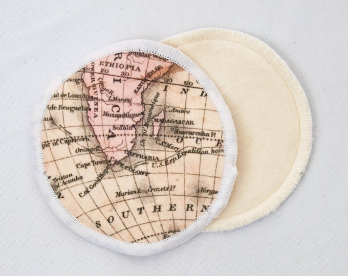 Reusable Bamboo Velour Nursing Pads - Map Print