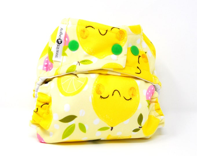 PRE-ORDER: Lemons and Strawberries Cloth Diaper Cover or Pocket Diaper (One Size) Baby Shower Gift, Baby Nursery