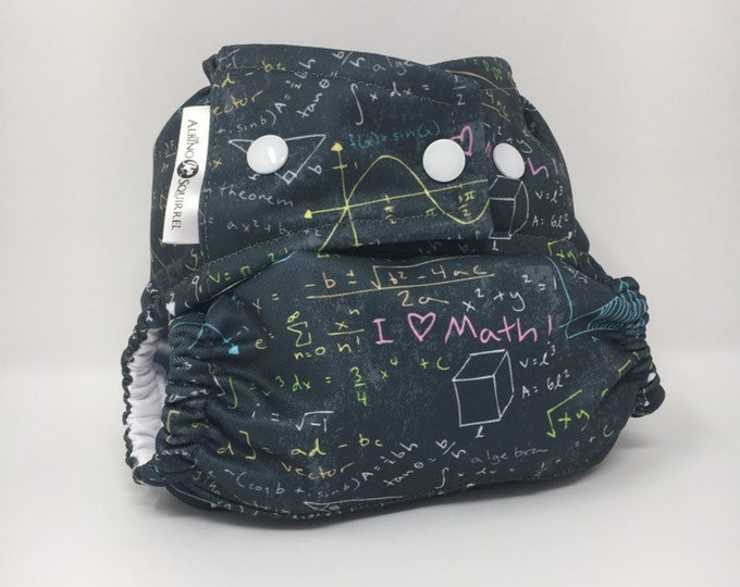 Cloth Diaper : MATH Print Cover or Pocket Diaper (One Size) Baby Shower Gift, Baby Nursery