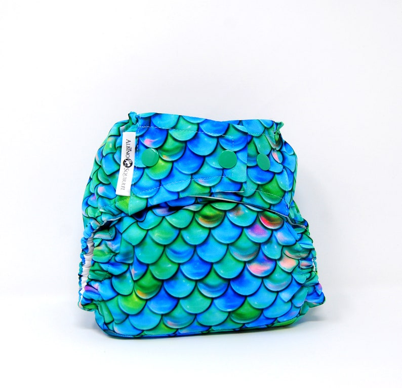 Baby Shower Gift One Size Dragon  Mermaid Cloth Diaper Cover or Pocket Diaper