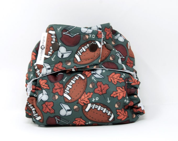 Football Diaper Cover or Pocket Diaper (One Size) Baby Shower Gift