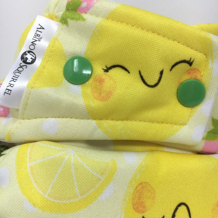 Cloth Diaper : Lemons and Strawberries Print Cover or Pocket
