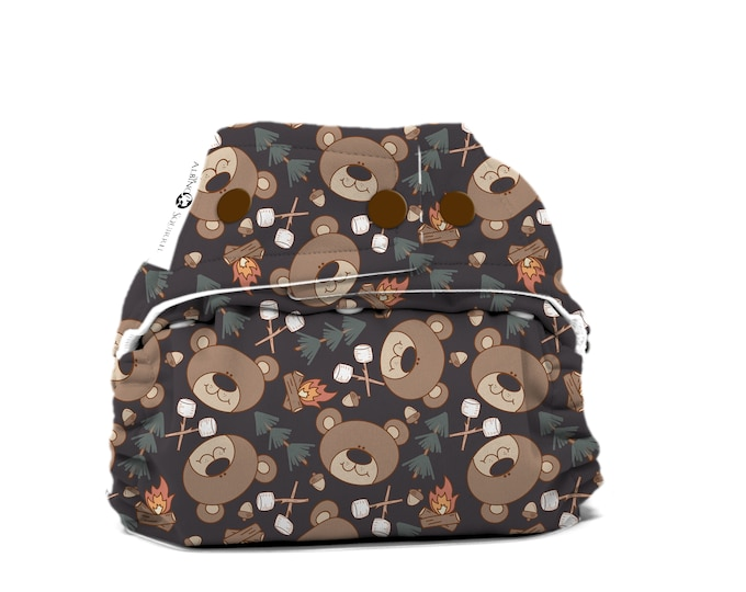 PRE-ORDER: Camping Bear Cloth Diaper Cover or Pocket Diaper (One Size) Baby Shower Gift