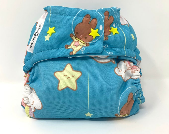 Kawaii Space Bunnies Cloth Diaper Cover or Pocket Diaper (One Size)