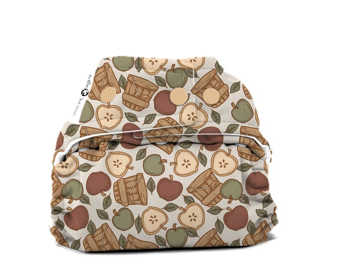 PRE-ORDER: Apple Picking Cloth Diaper Cover or Pocket Diaper (One Size) Baby Shower Gift
