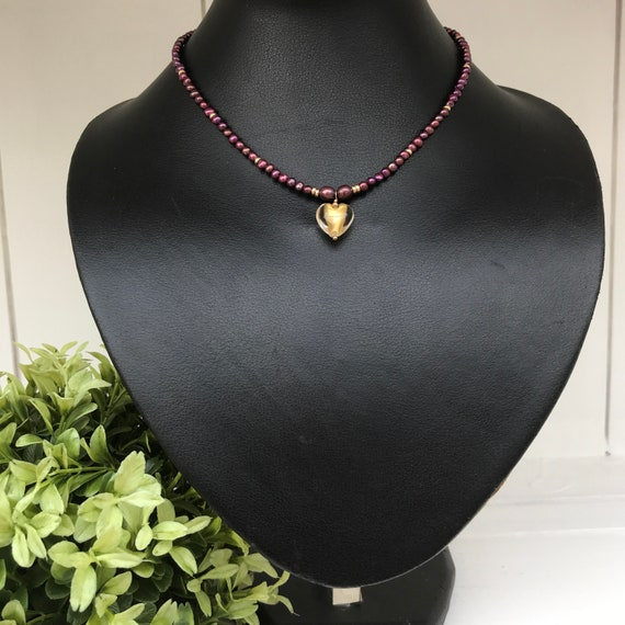 Cherry Pearl and Murano Heart Necklace