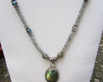 Genuine Labradorite and Sterling Silver Necklace