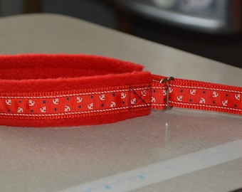 Limited slip dog collar - Anchors - Red - 35mm width