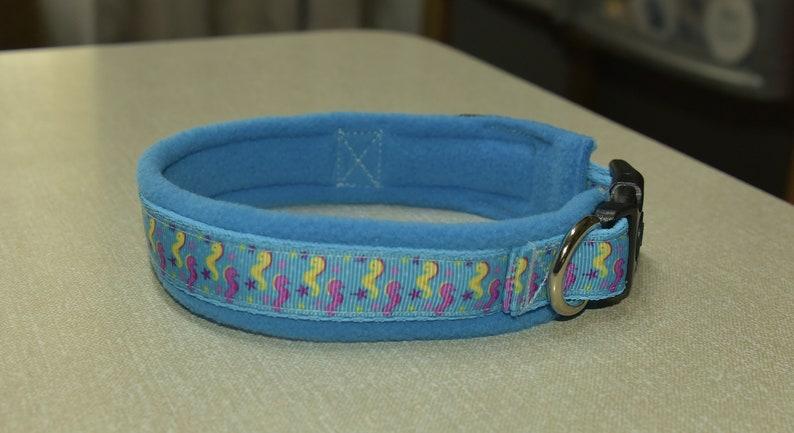 Adjustable Seahorse Dog collar with  fleece lining