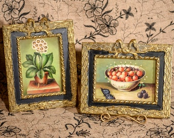 Still Life Oil Paintings 5x7 Set of Two