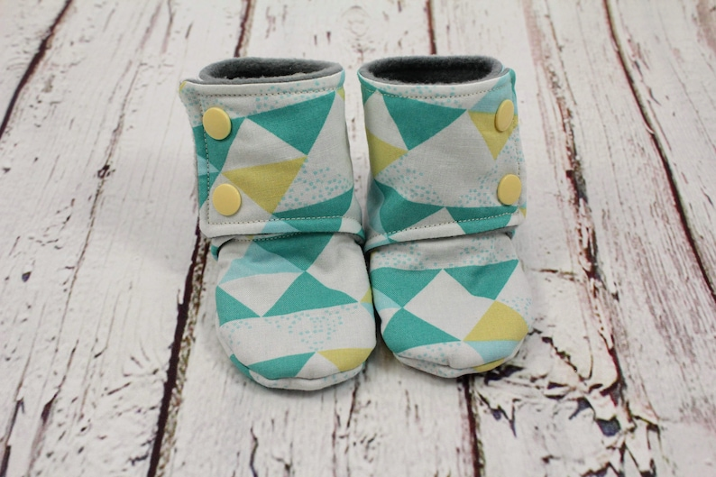 e1782335f0c69 unisex baby booties - non slip baby shoes - baby boots -stay on booties -  6-9 month fleece baby booties -triangle booties - baby shower gift