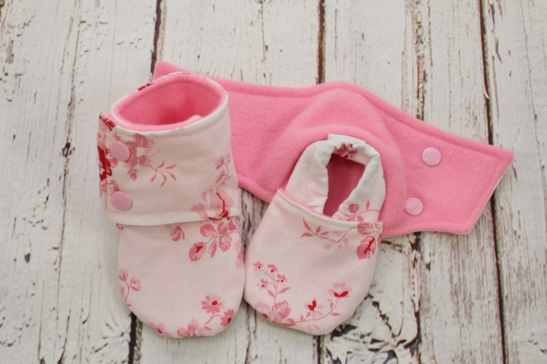 4d6e6612cf4f4 baby girl booties - non slip baby shoes - baby boots - stay on booties -  9-12 month baby booties - pink flowers booties - baby shower gift