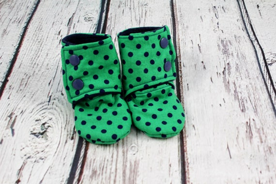 15d247a12f970 boy baby booties - dots baby shoes - baby boots - stay on booties - fleece  baby booties - 6-9 month baby slippers - baby shower gift