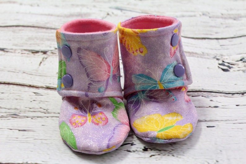 1d492b355fa2e baby booties - butterfly girl booties- non slip baby shoes - baby boots -  stay on booties - 6-9 month fleece baby booties - baby shower gift