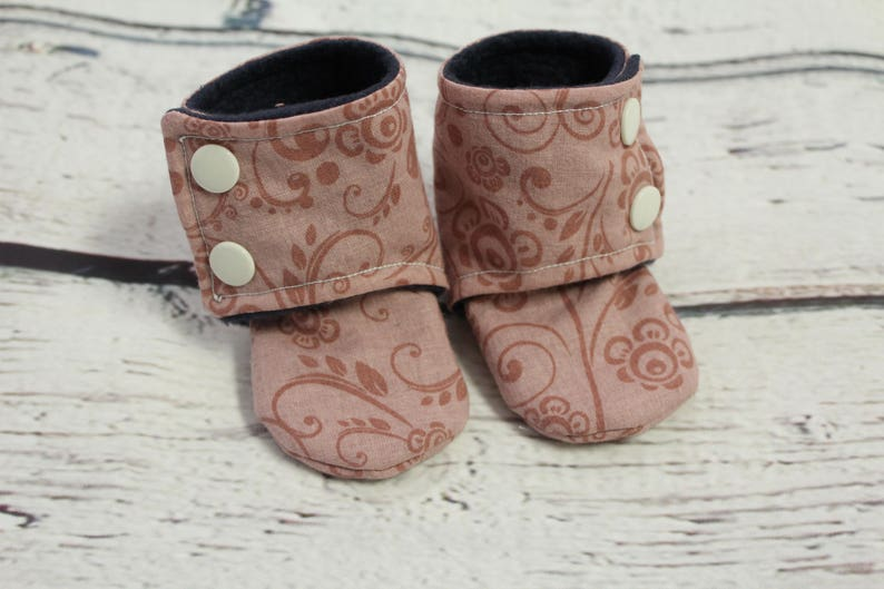 405444d9b8640 baby girl booties - non slip baby shoes - baby boots - stay on booties -  3-6 month fleece baby booties - flower slippers - baby shower gift