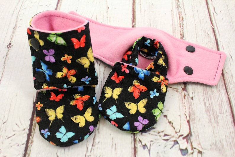 ddb0a845c6bce girl butterfly booties - non slip baby shoes - baby boots - stay on booties  - 6-9 month fleece baby booties -baby booties - baby shower gift