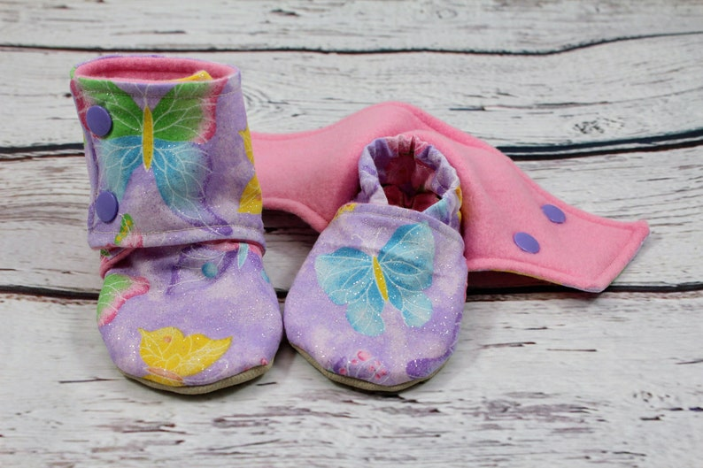 4df7a482e6d6f butterfly baby booties - non slip baby shoes - baby boots - stay on booties  - 9-12 month baby booties - girl booties - baby shower gift