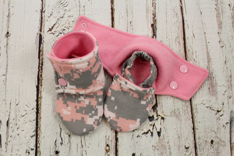 a709ecdd0492d pink camo girl booties - non slip baby shoes - baby booties - stay on  booties - 6-9 month fleece baby booties - baby shower gift