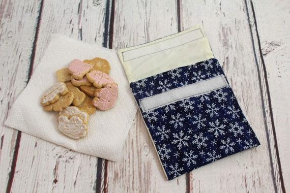 b1594047baeb snowflake reusable snack bag - eco-friendly snack bag - washable wipeable  snack bag - back to school - Christmas - winter