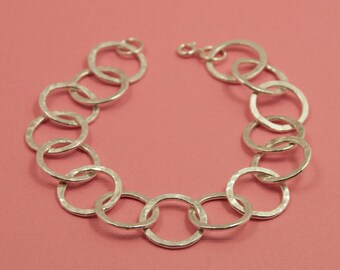 Emily--Fine Silver Bracelet-- 15 ring Fine Silver hand forged, hand hammered loops, Sterling Silver clasp