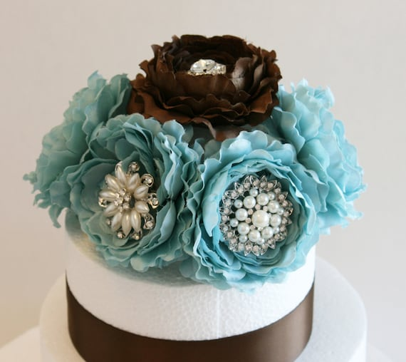 Blue And Brown Wedding Cake Topper Wedding Centerpieces Etsy