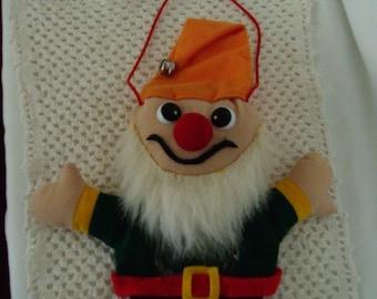 Vintage Christmas Hand Puppet, Candy Holder, Santa's Elf, Christmas Gift Holder, Stuffed Toy, Door Hanger.