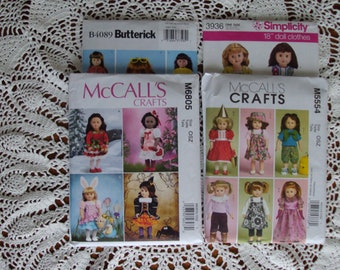 """American Girl Sewing Patterns 18"""" Dolls ... McCalls, Set of 4, M554, M6805, Simplicity 3936, Butterick B4089 .. Unused .. Factory Folded."""