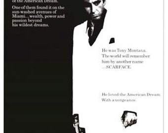 Vintage Scarface Al Pacino Black And White Reprint Movie Poster 27 x 40
