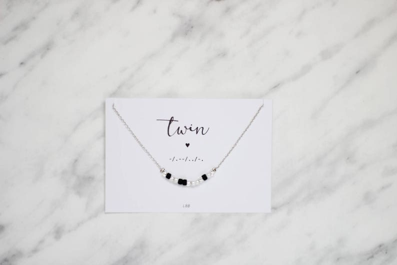 Twin Morse Code Jewelry Dainty Jewelry Gift for twin sister Make a wish jewelry TWIN Morse Code Necklace Birthday gift Gift for her