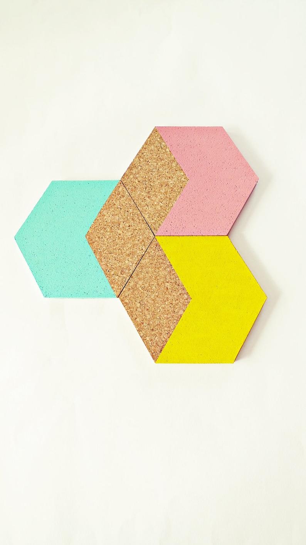 3 Geometric cork coasters Hexagon pastel mint image 0